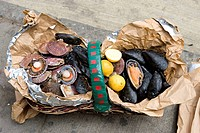 Chile, Valparaiso Region, Valparaiso, sea food basket sold on the street