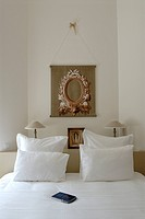 France, Rhone, Beaujolais region, Saint Amour, Auberge du Paradis hotel, a bedroom