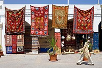 Tunisia, Djerba, Midoun, carpet seller