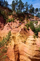 France, Vaucluse, Luberon, Roussillon, labelled Les Plus Beaux Villages de France The Most Beautiful Villages of France ochre quarries