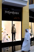 United Arab Emirates, Dubai, Mall of the Emirates, Via Rodeo, emirati in front of a Yves Saint Laurent shop