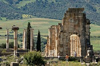 Morocco, Volubilis, Roman city founded in 40 BC listed as World Heritage by UNESCO, basilica
