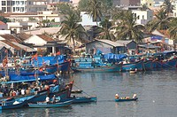 Vietnam, Khanh Hoa province, coastal city of Nah Trang, Cai river, Fisher village and harbour