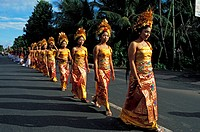 Indonesia, Bali, the Pedusan Alit, a very rare ceremony that is used to honor the Gods and to make everything like new, here in Batubulan, where the l...