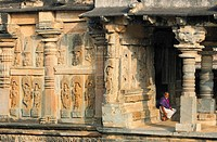 India, Karnataka, Belur, Channekeshava temple in hoysala style architecture