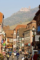 France, Haut Rhin, Alsace Wine Road, Ribeauvillé, street and castle