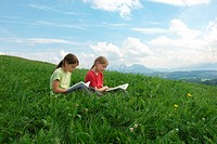 Lesen in der Wiese