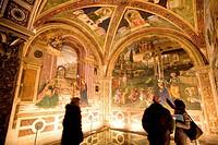 Italy, Umbria, Spello, Santa Maria Maggiore church, Baglioni´s Chapel with Pintoricchio´s frescoes