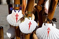 Spain, Galicia, Santiago de Compostela, listed as World Heritage by UNESCO, pilgrim´s stick