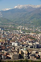 France, Isere, Grenoble, Panorama from the Bastille with the Massif du Vercors in the Background