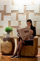 Singapore, Grand Hyatt, businesswoman in the business lounge