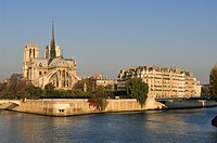 France, Paris, banks of the Seine river listed as World Heritage by UNESCO, Ile de la Cite, Notre Dame Cathedral