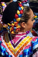 Mexico, Yucatan State, Merida, portrait of folk dancer