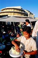 Cambodia, Phnom Penh city, Old French Market Child selling jasmin bangles