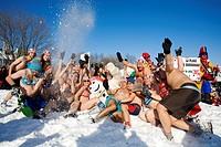 Canada, Quebec Province, Quebec City, Quebec Carnival, snow bath