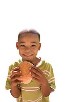 Boy eating burger, smiling, portrait, cut out