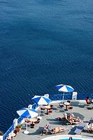 Terrace with views on the sea, Santorini, Cyclades Islands, Greece