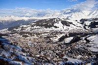 France, Haute Savoie, Megeve, ski resort and Mont Blanc massif aerial view