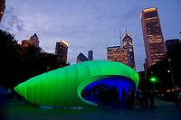 Installation at Millennium Park in Chicago Illinois is the Hadid Burnham Pavillion  The oval pod like sculpture is white fabric stretched over aluminu...