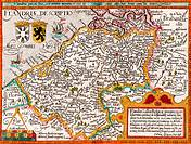Map of Flanders by cartographer Matthias Quad from his Fasciculus Geographicus  Later hand colouring  Engraved and published by Johannes Bussemacher, ...