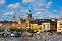 Munkbro bridge and Slussplan square in front of Gamla Stan the old town Stockholm Sweden Europe