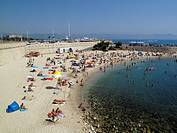 General view of Plage De La Gravette beach in Anitbes on the Cote D'Azur in southern France