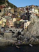 General view of cliffside town and harbour of Manarola in the Cinque Terre region of the Italian Riviera or Riviera di Levanto