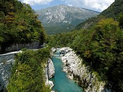 The River Soca and valley near Kobarid in Slovenia