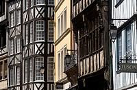 France, Seine Maritime, Rouen, Norman facades in Rue de Martainville