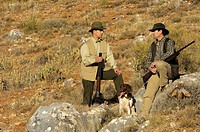 Hunters with guns and hunting dog, Spain, gun, gun dog