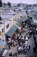 Israel, Jerusalem, holy city, old town, listed as World Heritage by UNESCO, Palestinian market and Dome of the Rock seen from the Damascus Gate