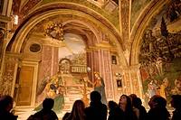 Italy, Umbria, Spello, Santa Maria Maggiore church, Baglioni´s Chapel with Pintoricchio´s fresco, Annunciazione