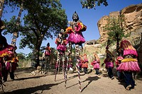 Mali, Dogon Country, Bandiagara Cliffs listed as World Heritage by UNESCO, stilt masks