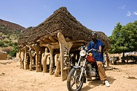 Mali, Dogon Country, Bandiagara Cliffs listed as World Heritage by UNESCO, Koundou, toguna discussion hut where men meet to discuss important matters,...