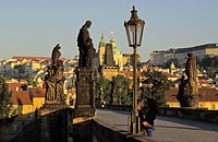 Czech Republic, Prague, historical centre listed as World Heritage by UNESCO, statue in Charles Bridge over Vltava River