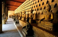 Laos, Viangchan, Wat Sisaket Temple, Buddhas statues in the gallery
