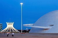 Brazil, Brasilia, listed as World Heritage by UNESCO, Metropolitana Nossa Senhora Aparecida cathedral and the National museum by architect Oscar Nieme...