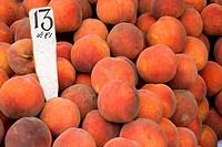 Morocco, Tangier Tetouan Region, Tangier, Market, peaches