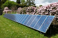 An installation of Photovoltaic or photoelectric Solar Panels used in the production of green energy