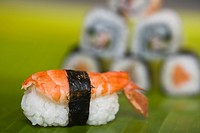 Close_up of various sushi on a leaf