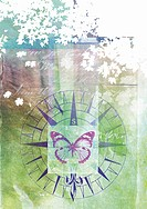 Collage of butterfly, direction symbol and tree