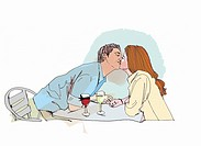 Couple drinking wine and kissing