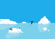Penguins standing on iceberg, whale diving in distance