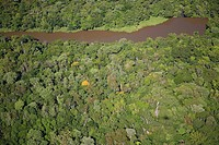 aerial of the brazilian rain_forest and river Iguacu at the district of Parana, Brazil