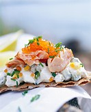 An open sandwich with salmon Sweden.