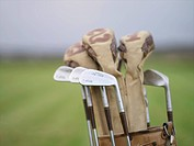 Old golf clubs in a golf bag Sweden.