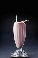 Close_up of a strawberry milkshake