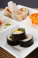 Close_up of a platter of assorted sushi