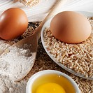 Close_up of brown rice with flour and eggs