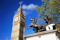 Big Ben with statue of Boadicea, London, England, UK